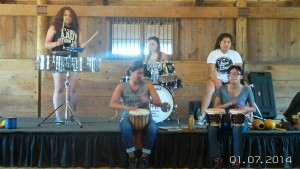 Marcie Chapa and girl leaders from Marina and Salinas form an impromptu band